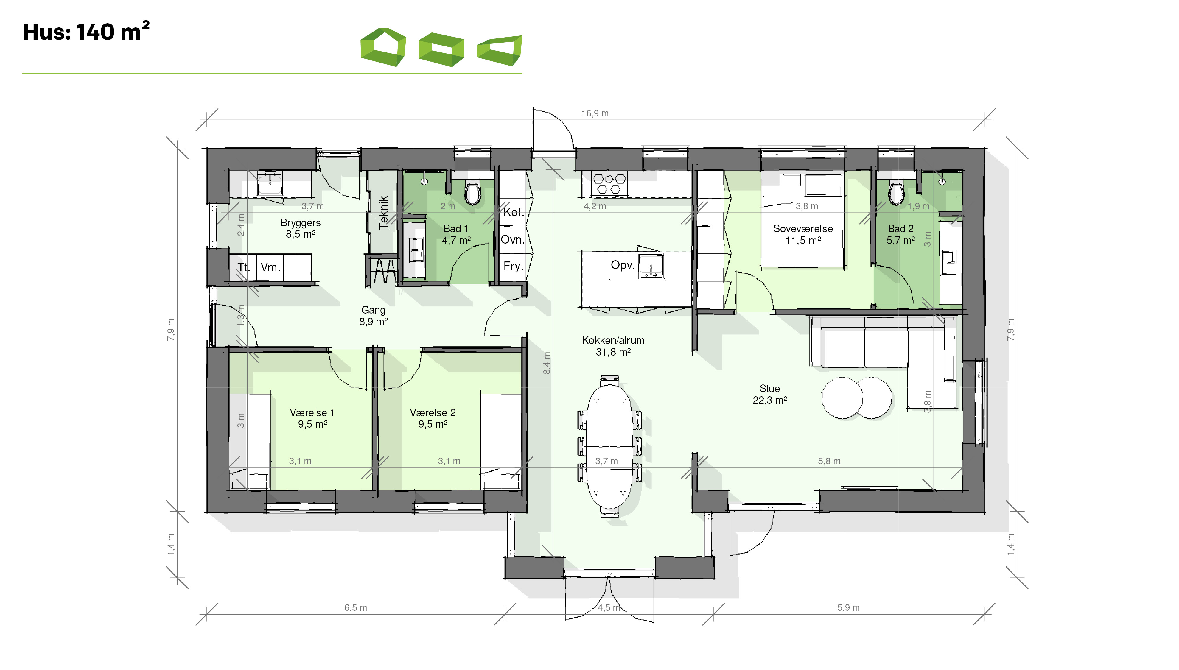 Plantegning T-hus 140 m2