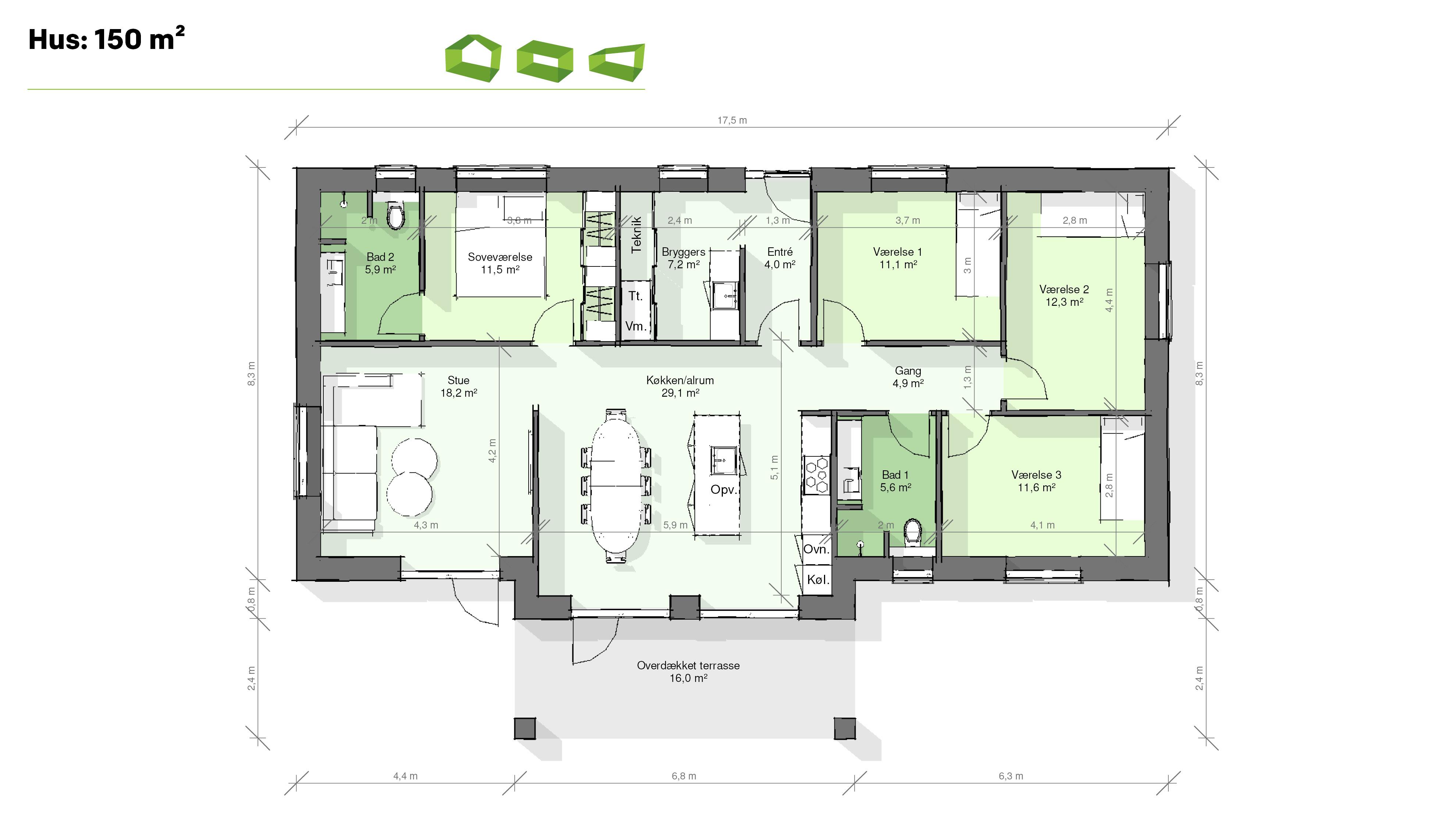 Plantegning T-hus 150 m2