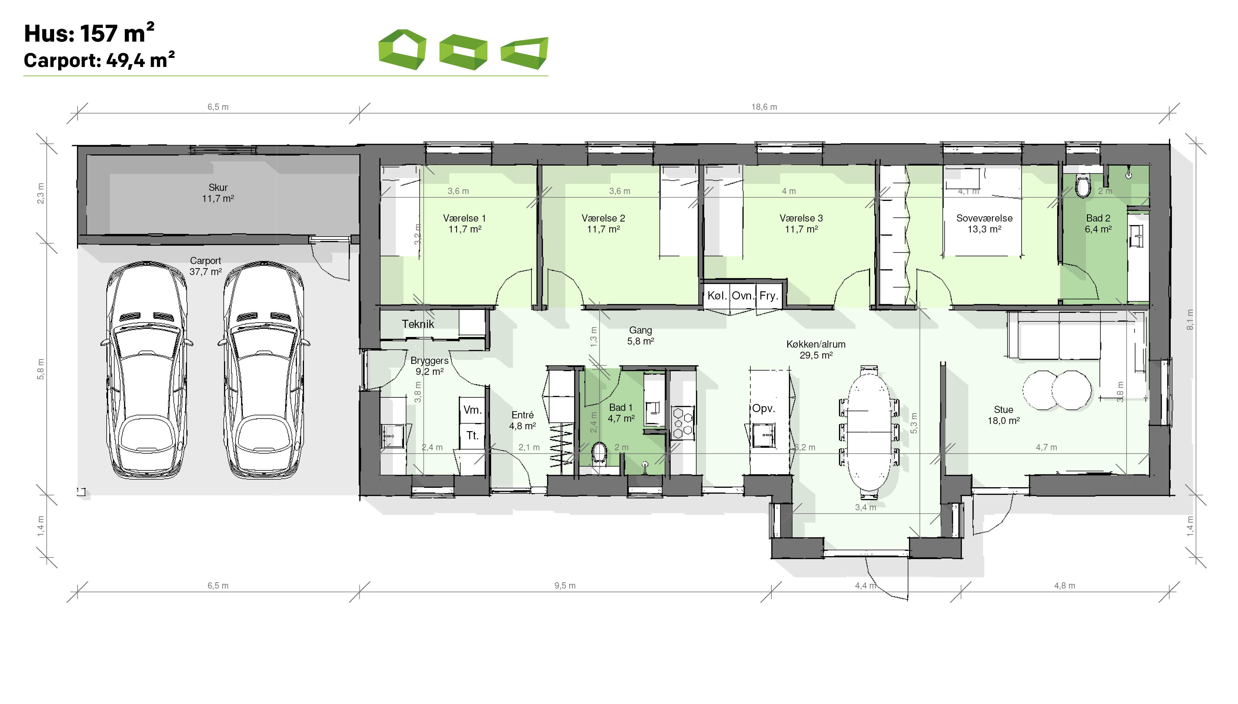 Plantegning T-hus 157 m2