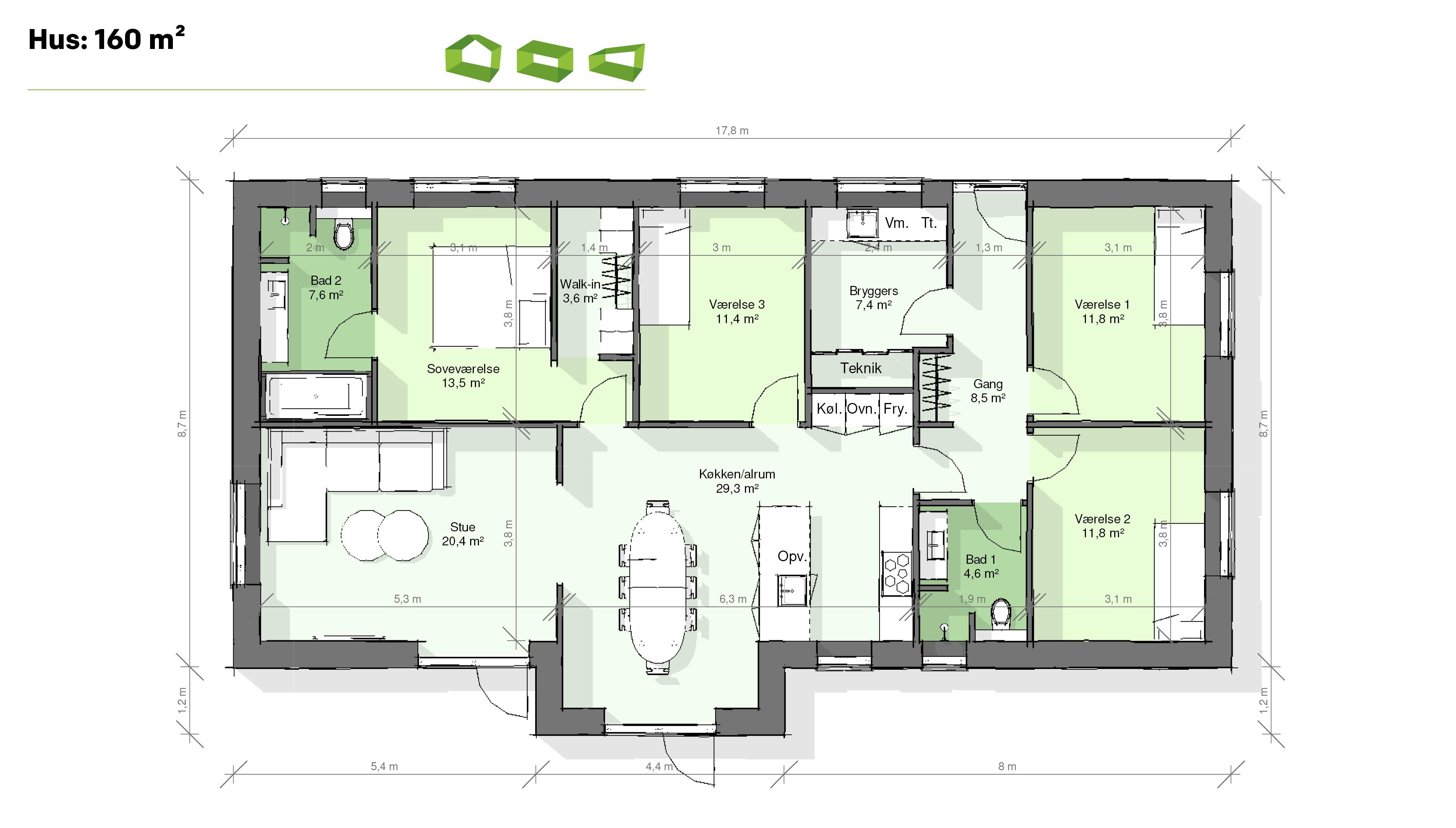 Plantegning T-hus 160 m2