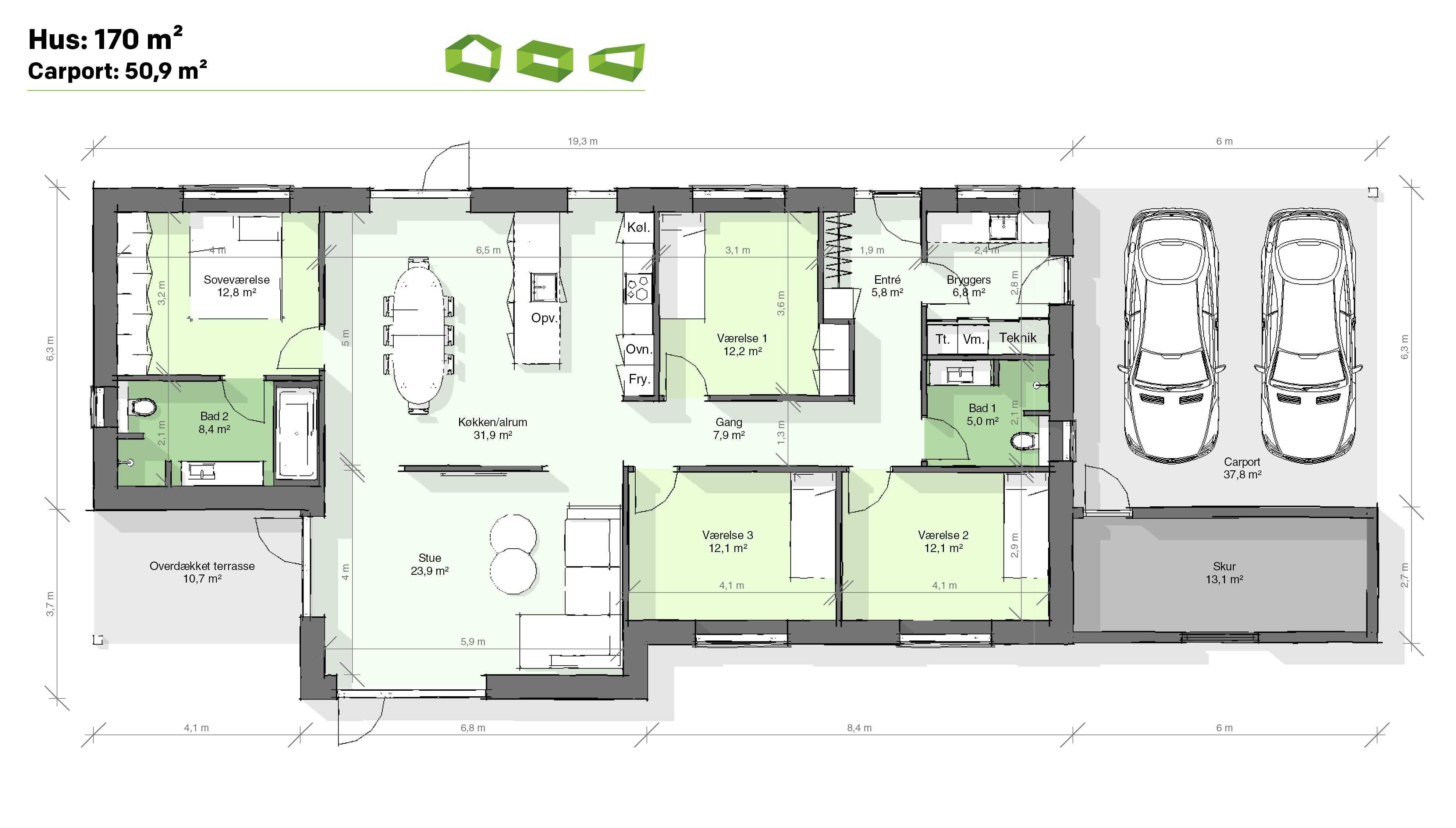 Plantegning T-hus 170 m2