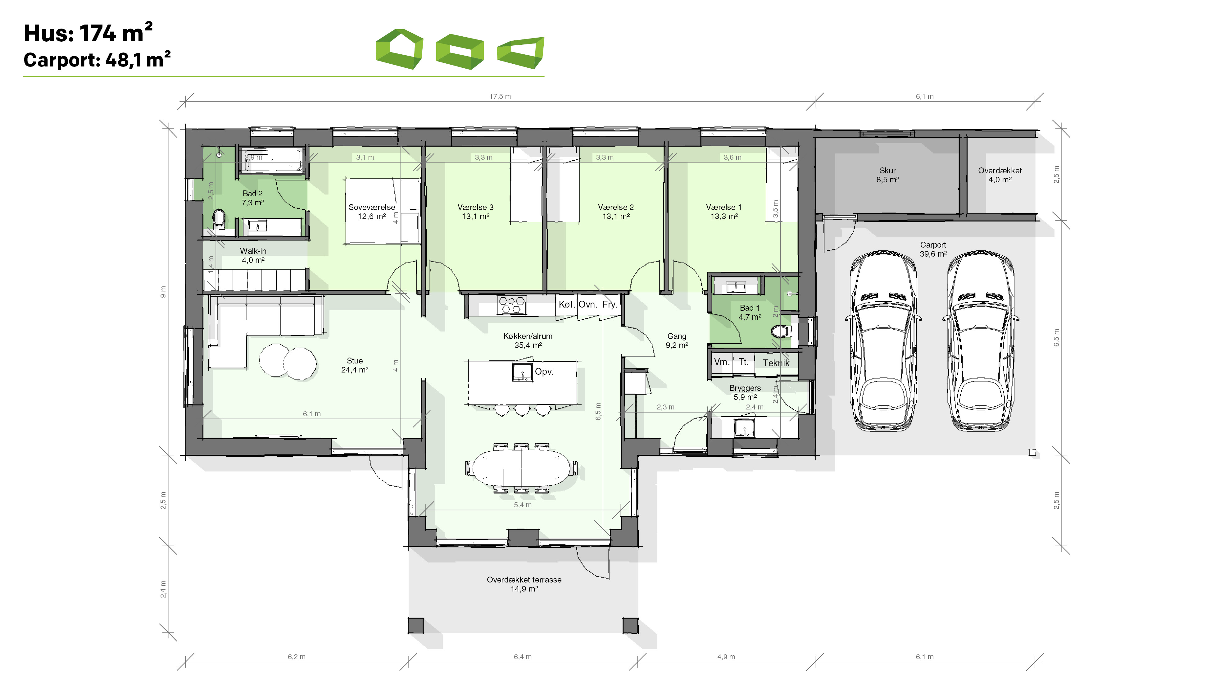 Plantegning T-hus 174 m2