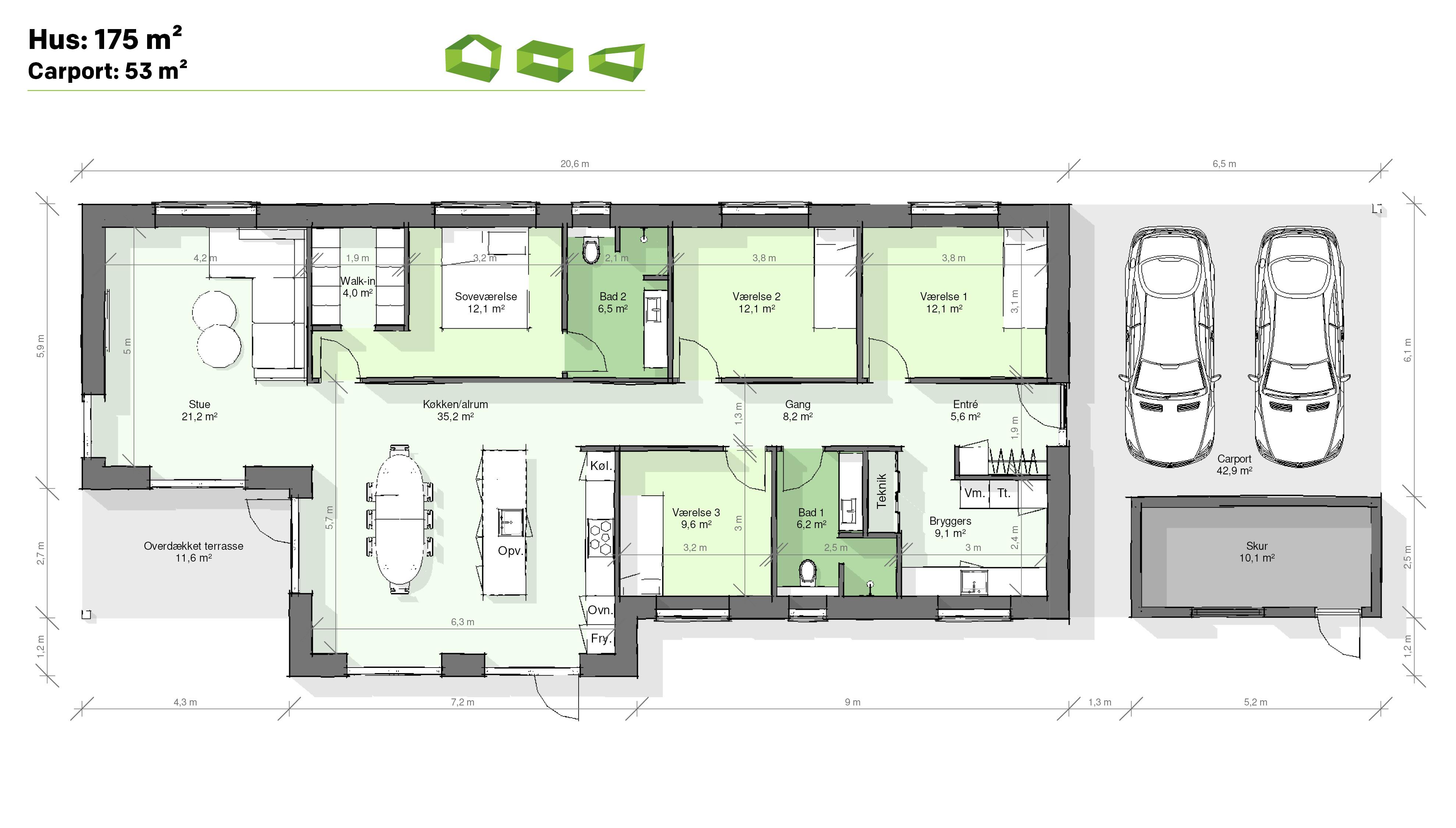 Plantegning T-hus 175 m2