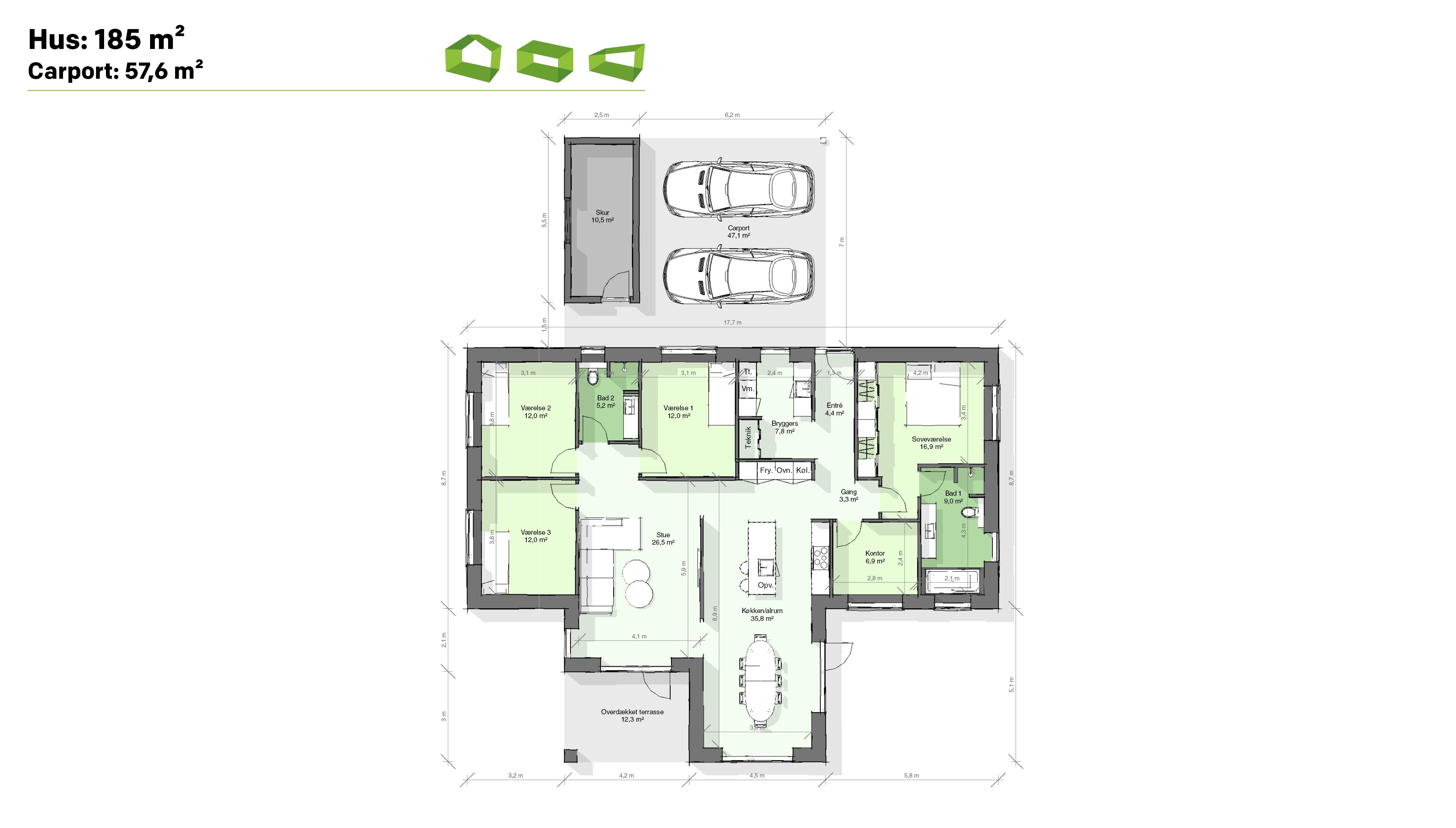 Plantegning T-hus 185 m2