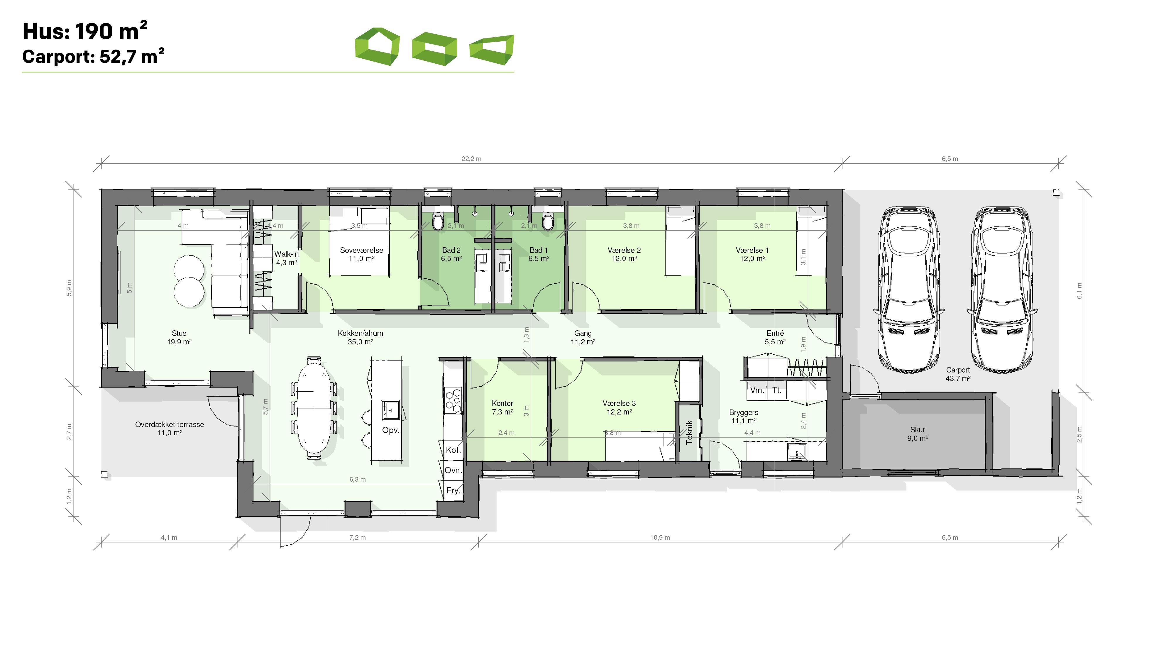 Plantegning T-hus 190 m2