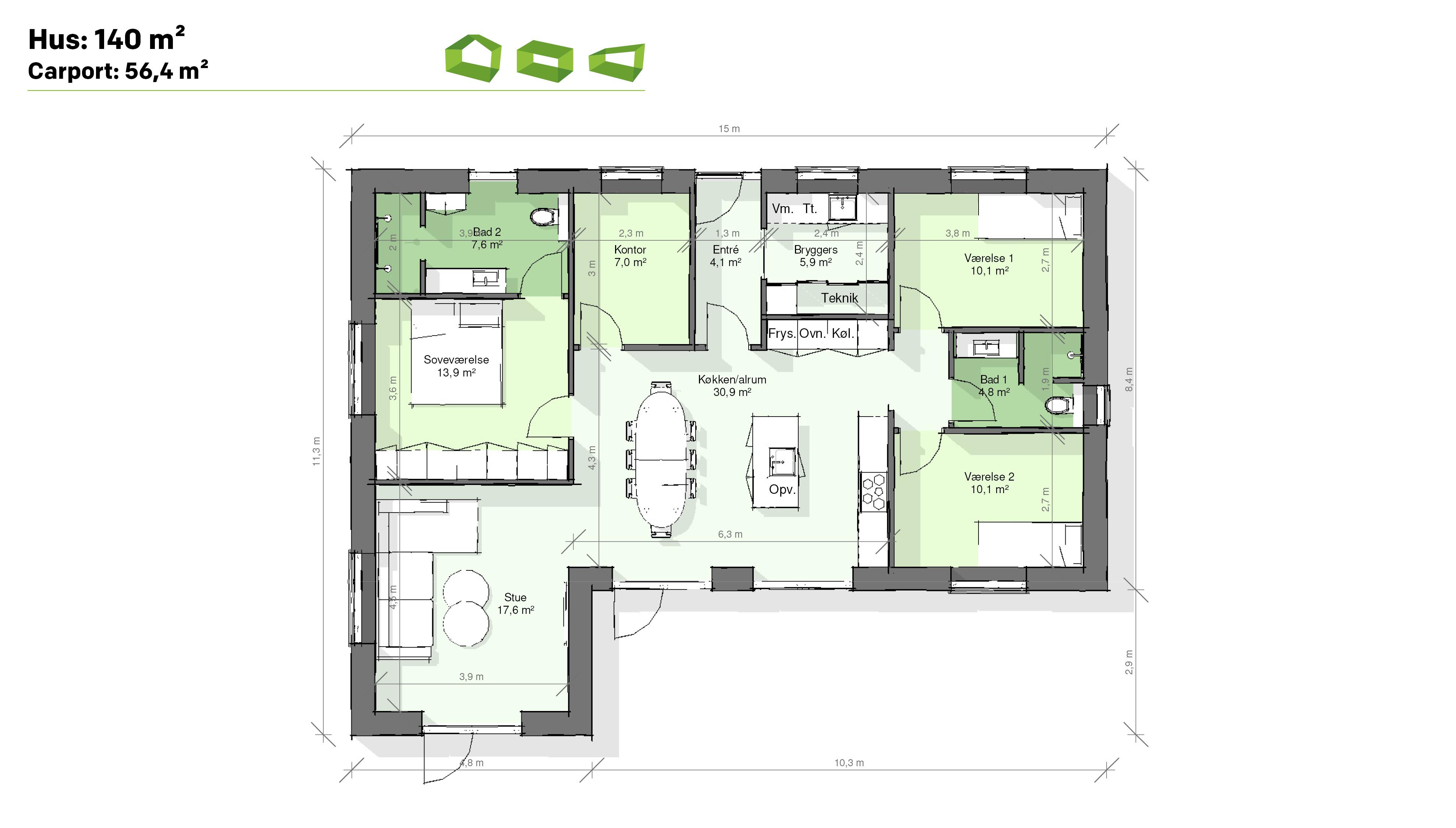 plantegning vinkelhus 140 m2