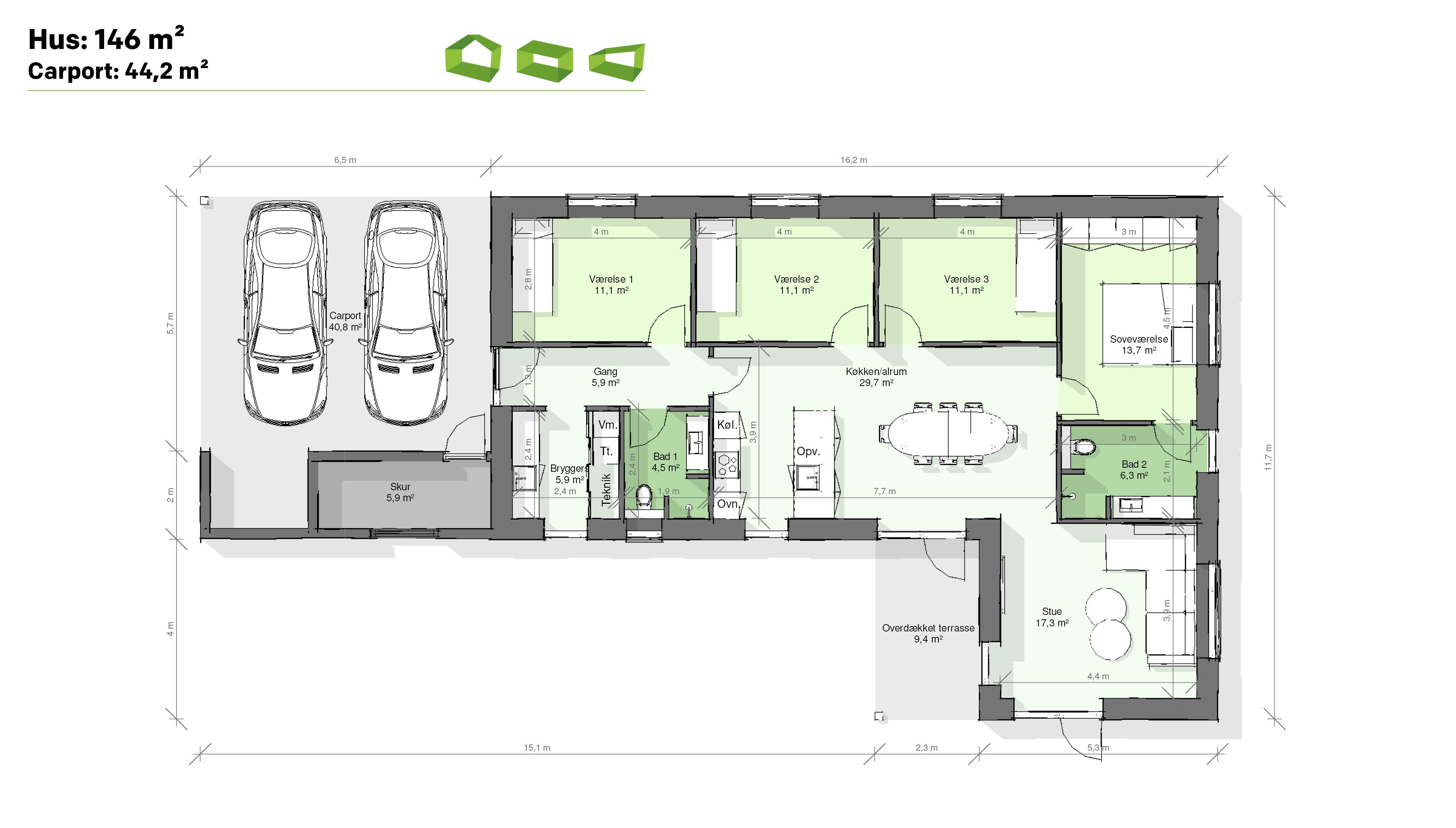 plantegning vinkelhus 146 m2