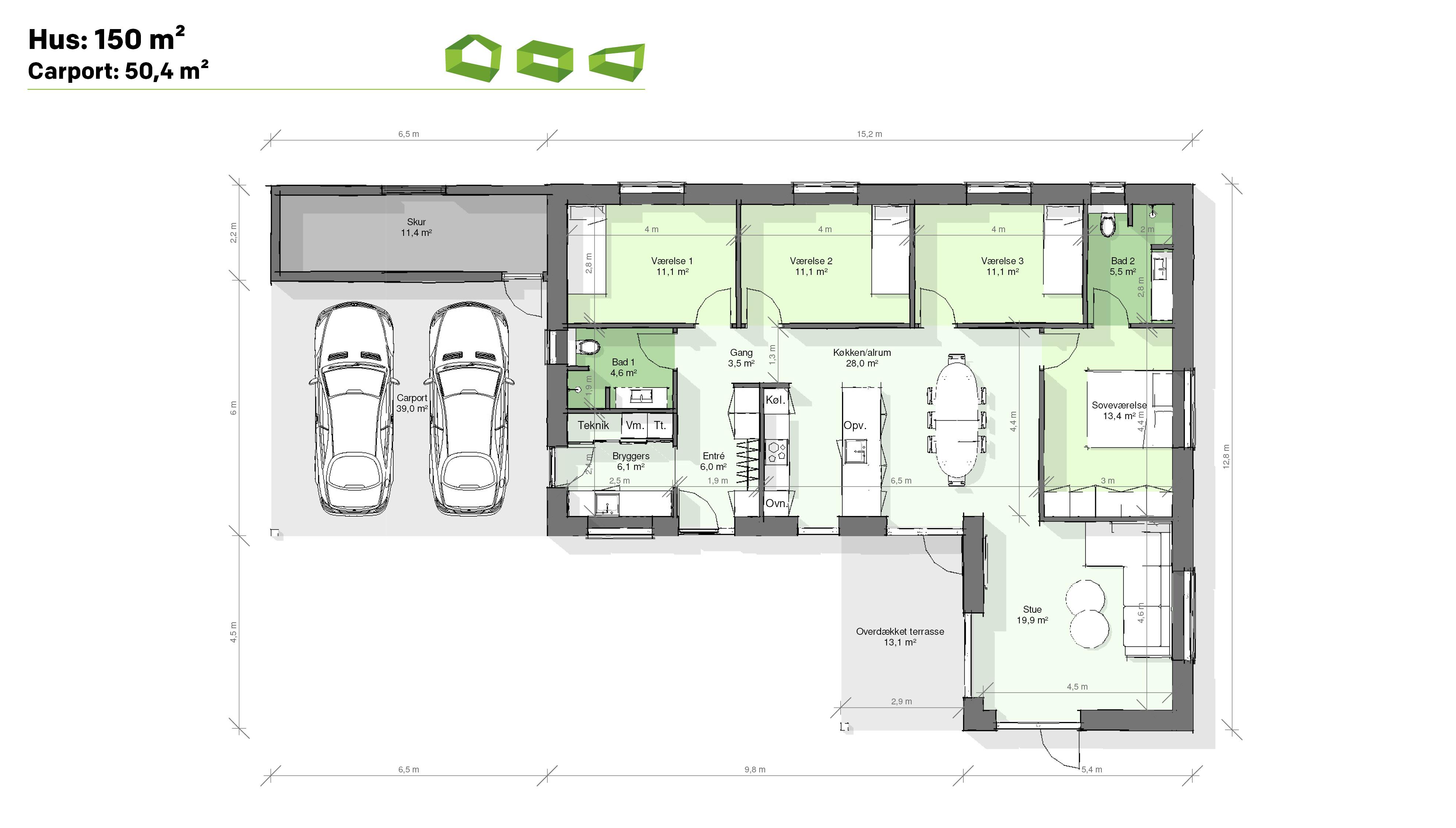 plantegning vinkelhus 150 m2