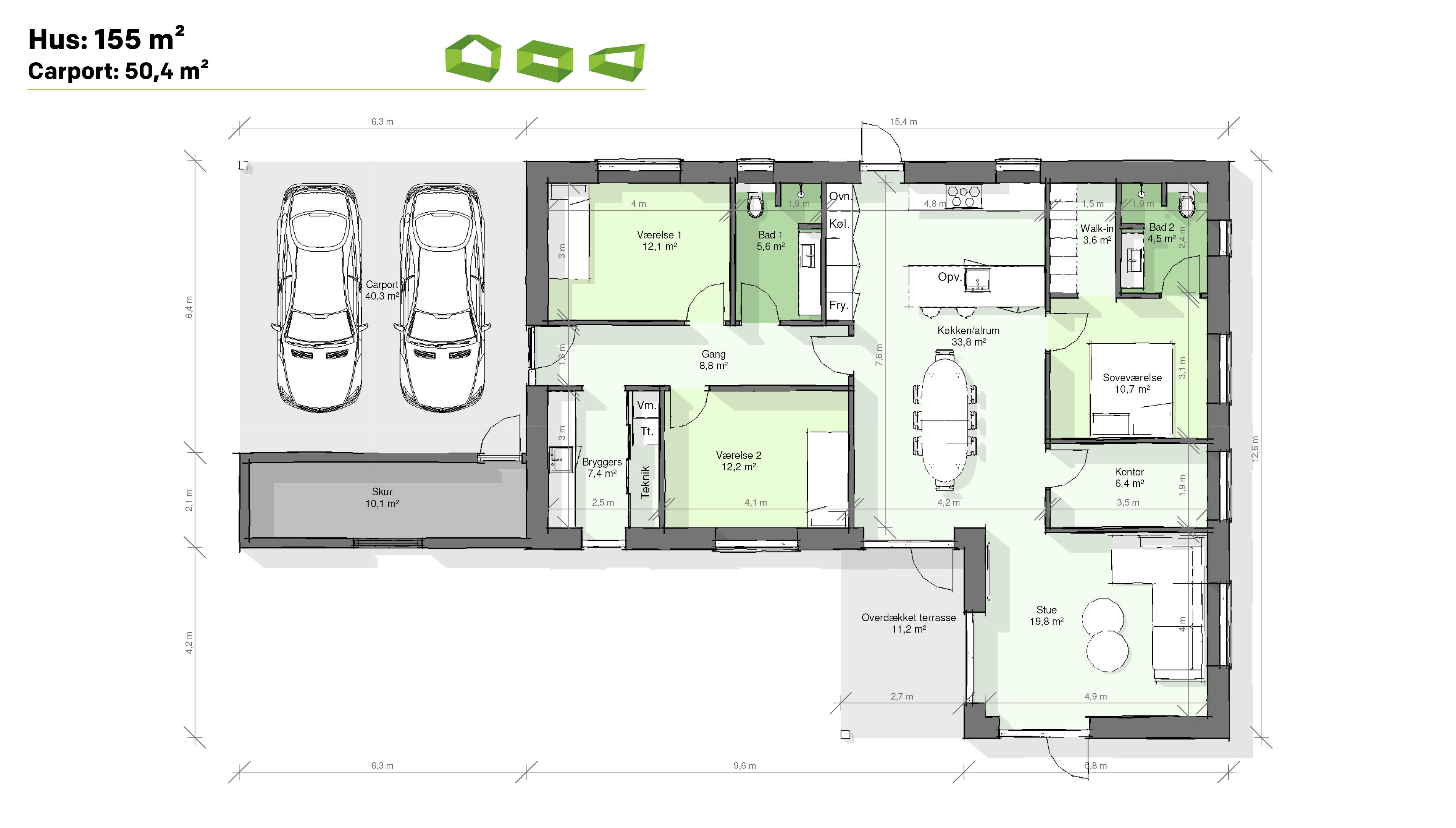 plantegning vinkelhus 155 m2