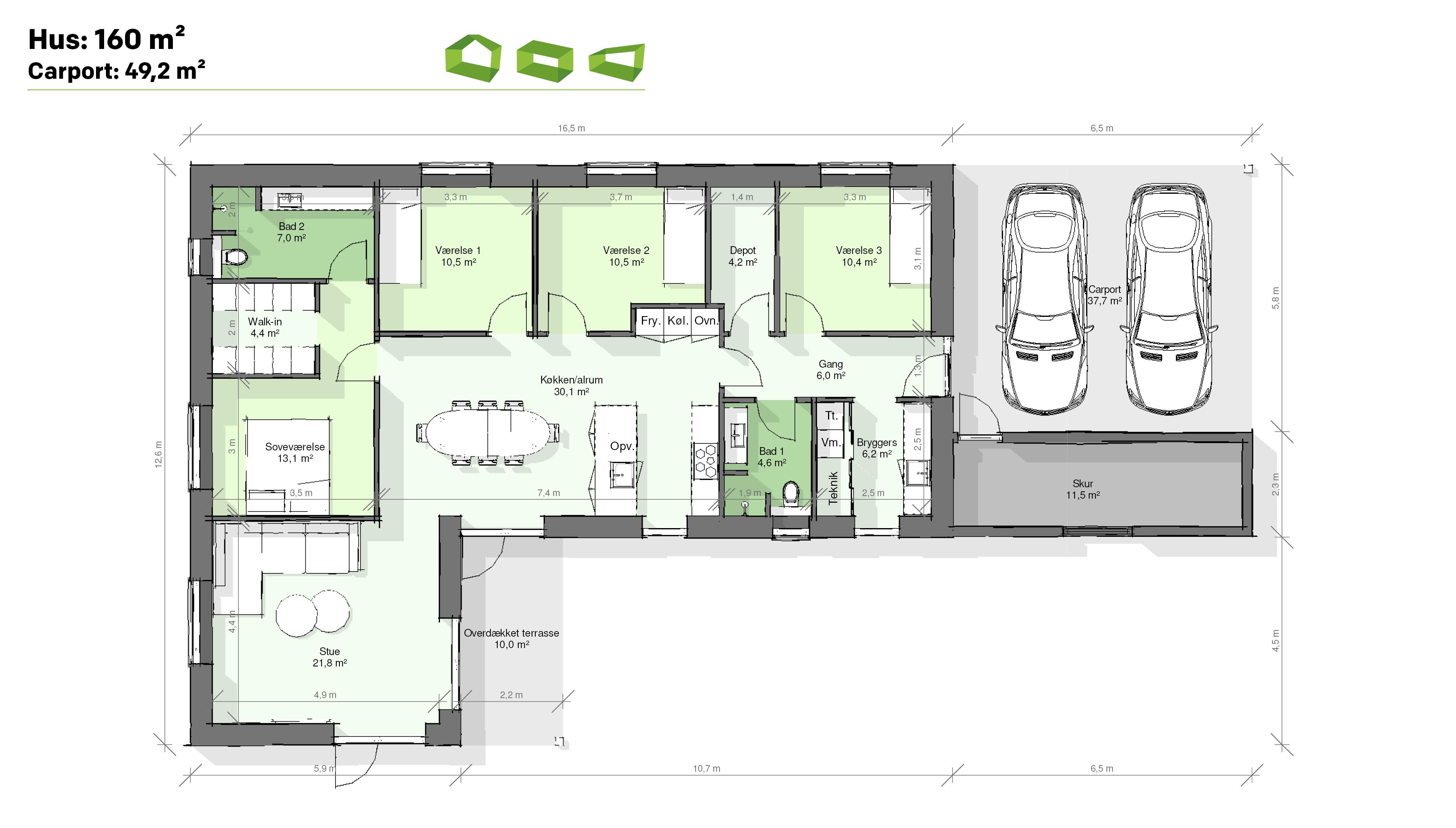 plantegning vinkelhus 160 m2