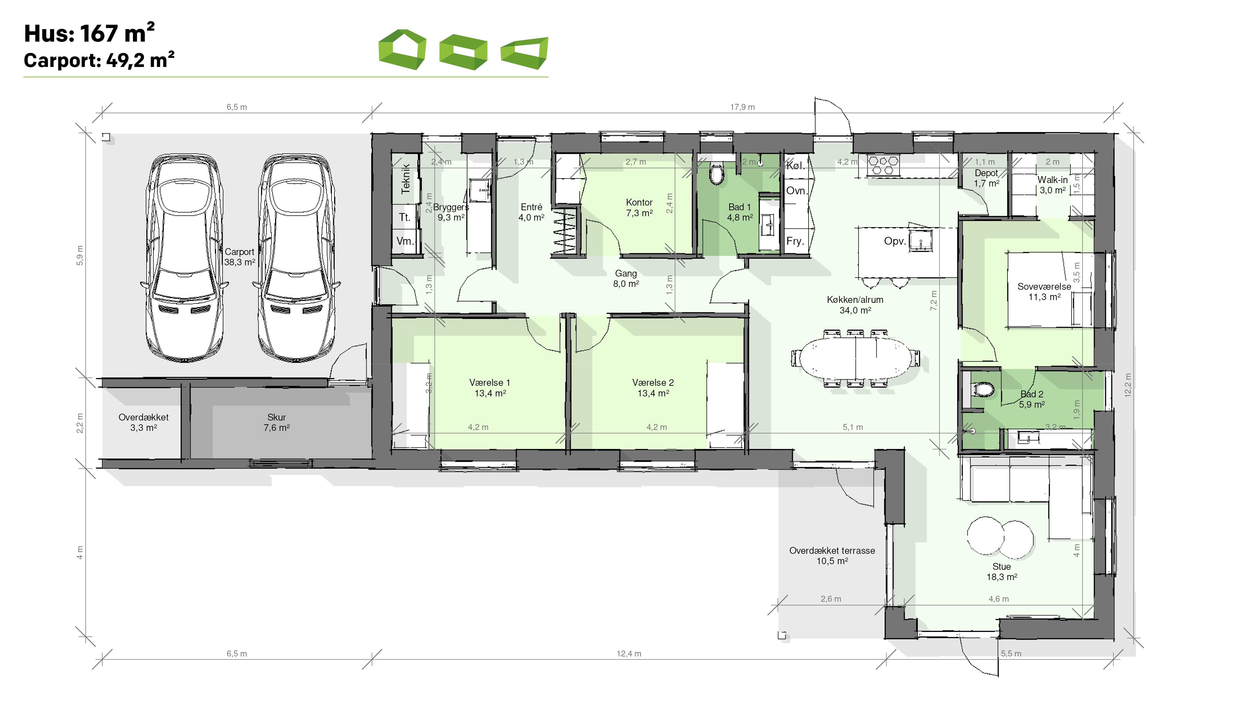 plantegning vinkelhus 167 m2
