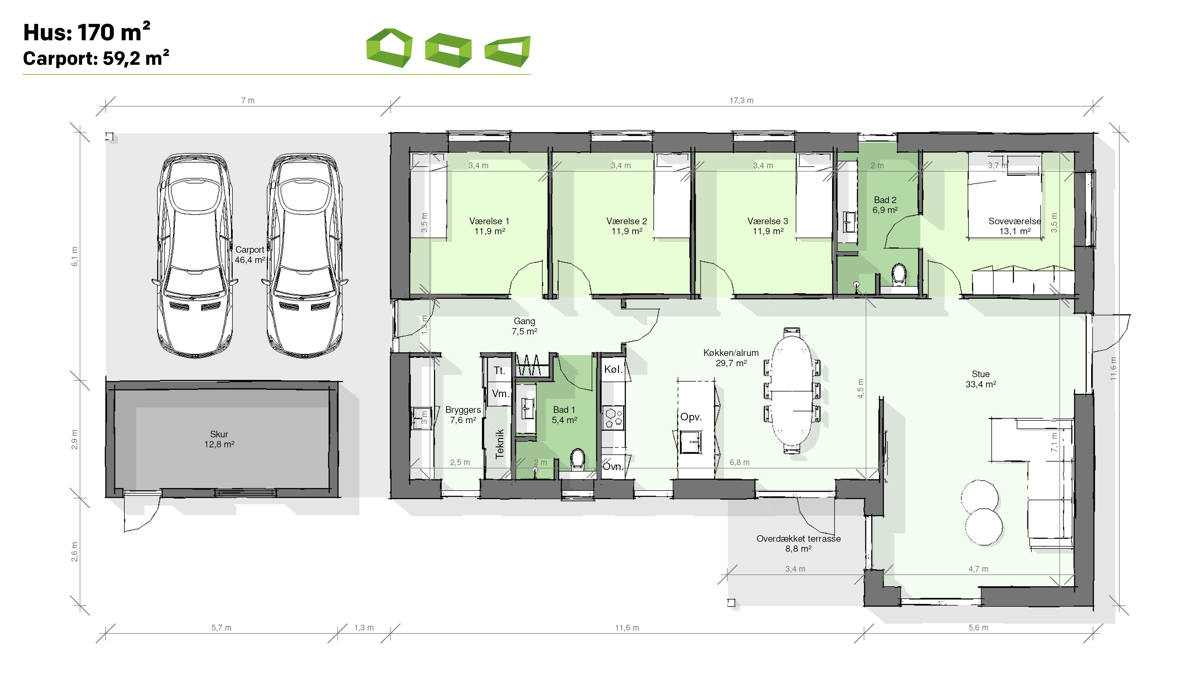 plantegning vinkelhus 170 m2