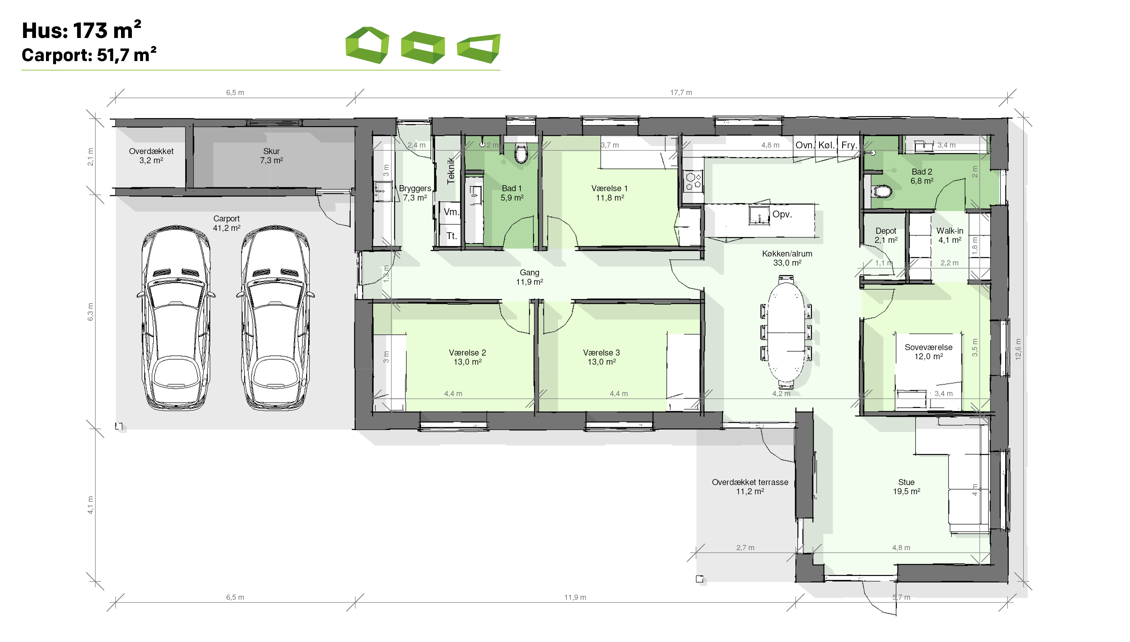 plantegning vinkelhus 173 m2