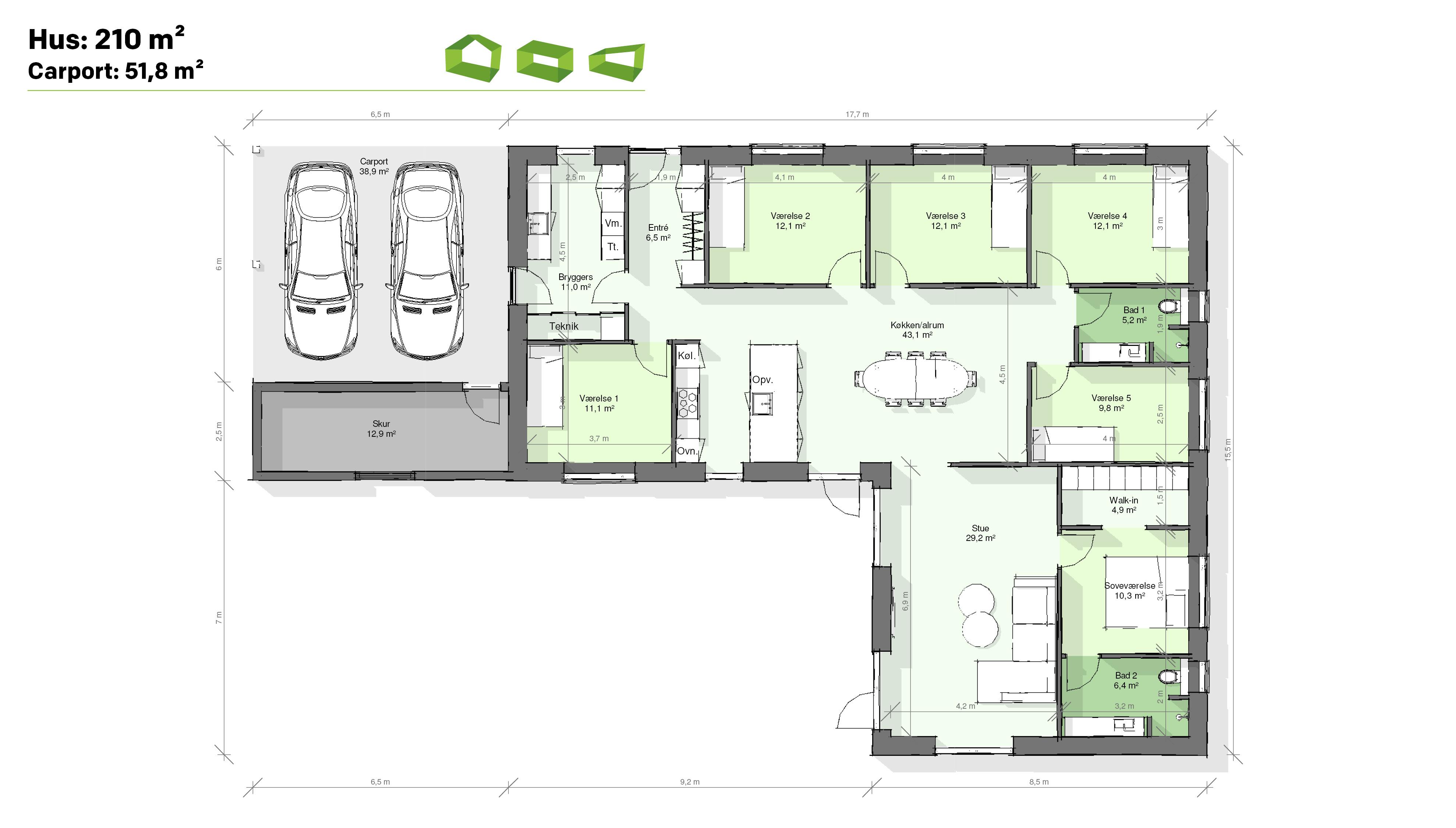 plantegning vinkelhus 210 m2