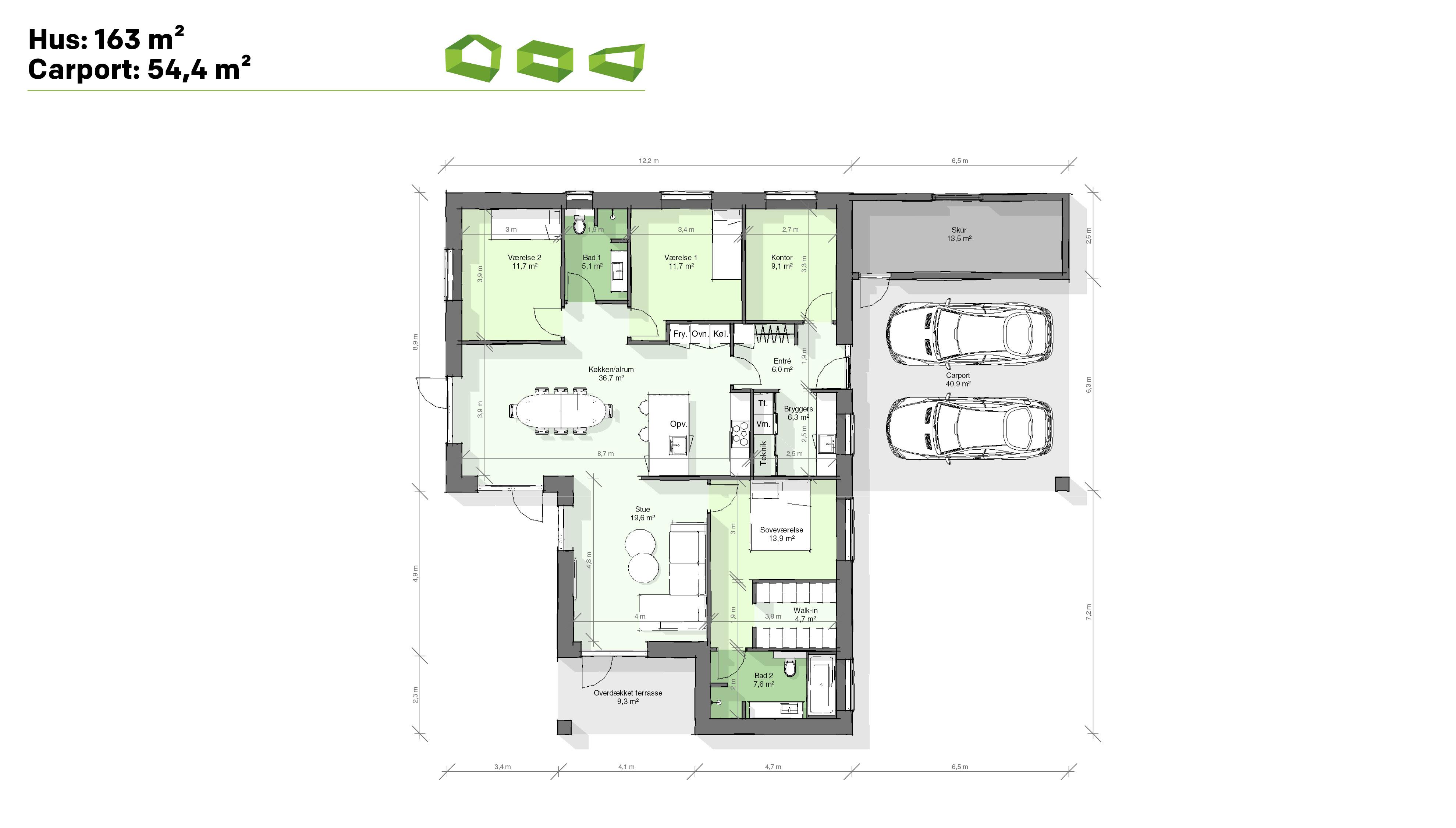 Plantegning designhus 163 m2