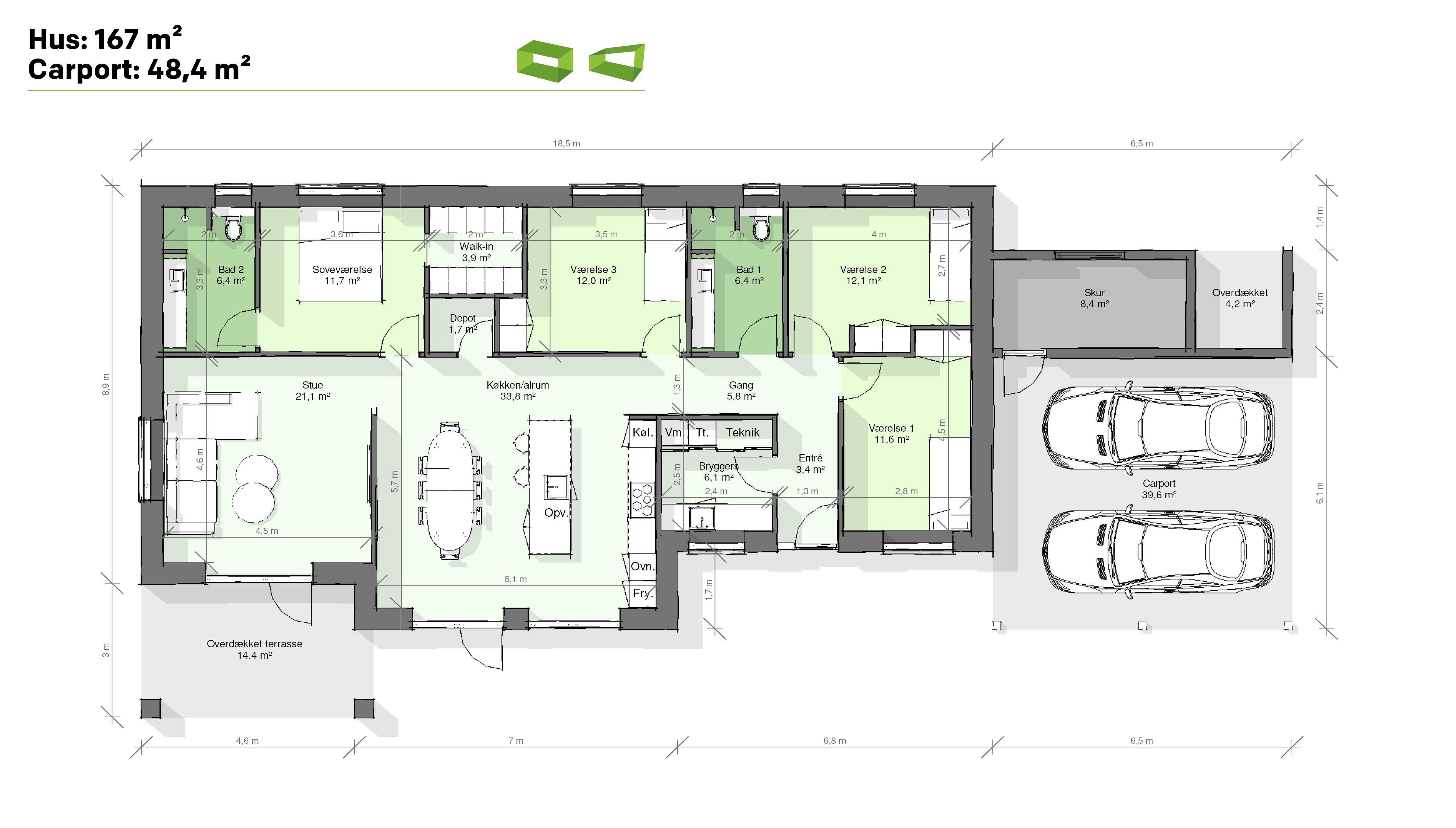 Plantegning designhus 167 m2
