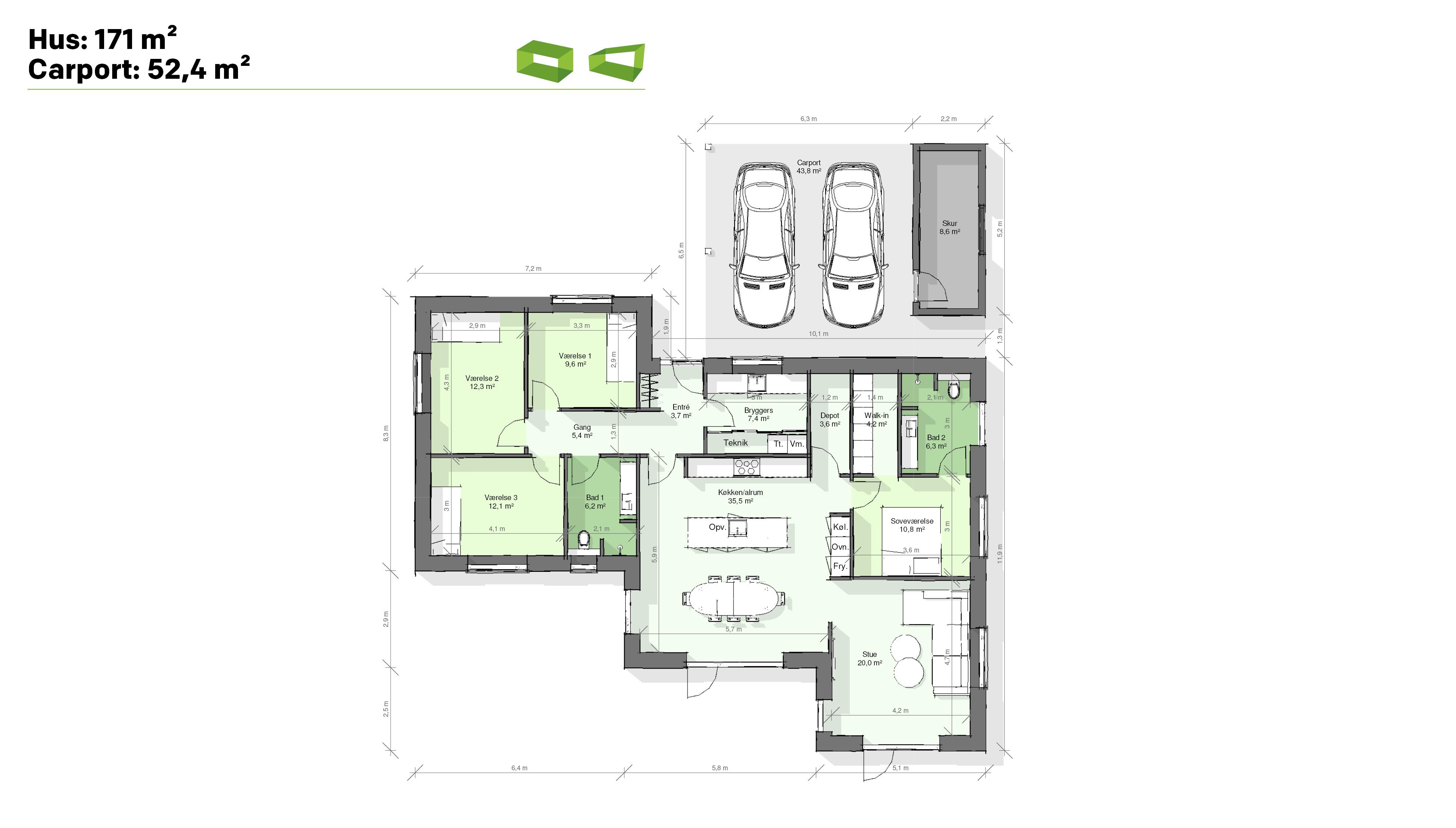 Plantegning designhus 171 m2