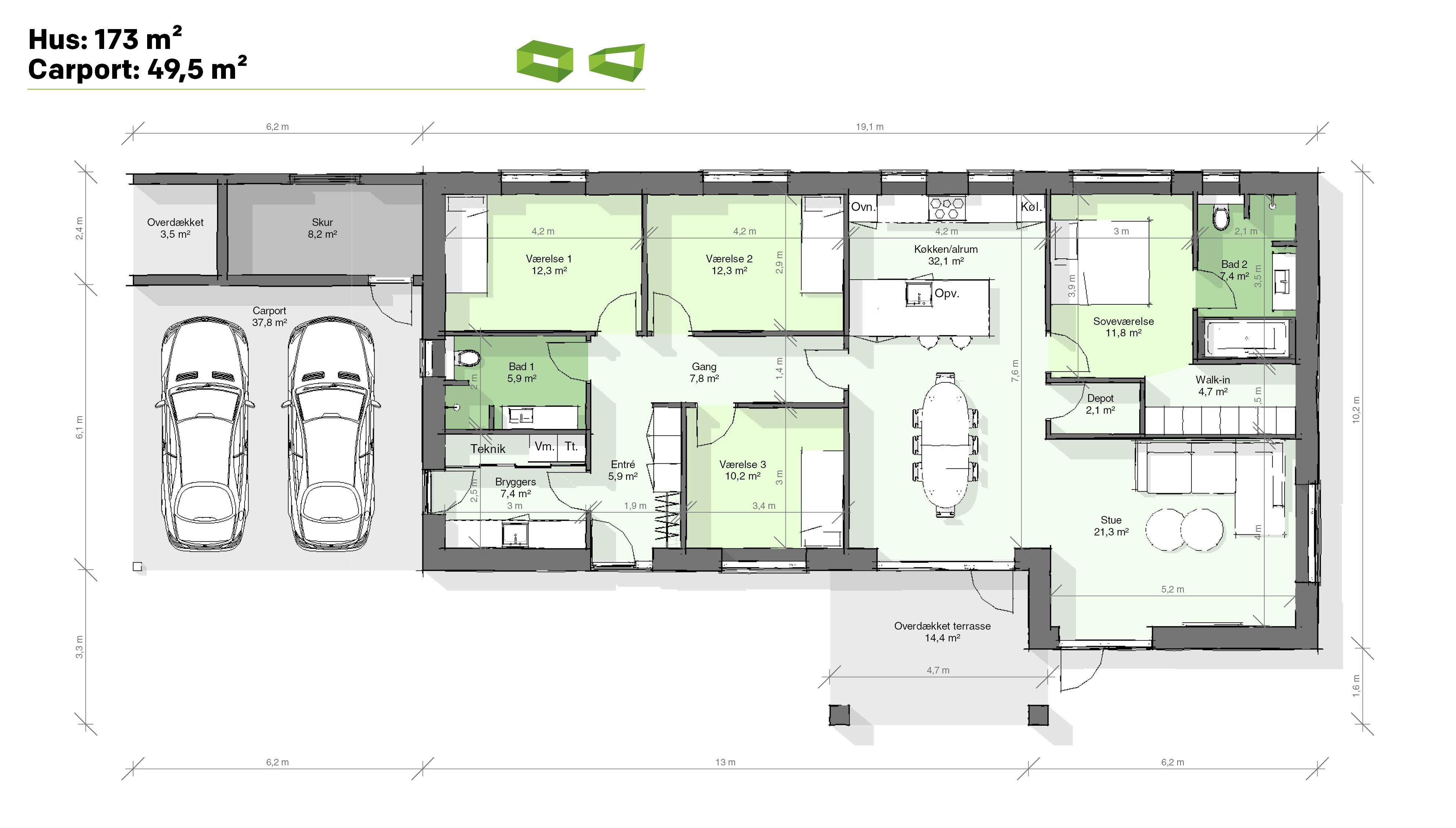 Plantegning designhus 173 m2