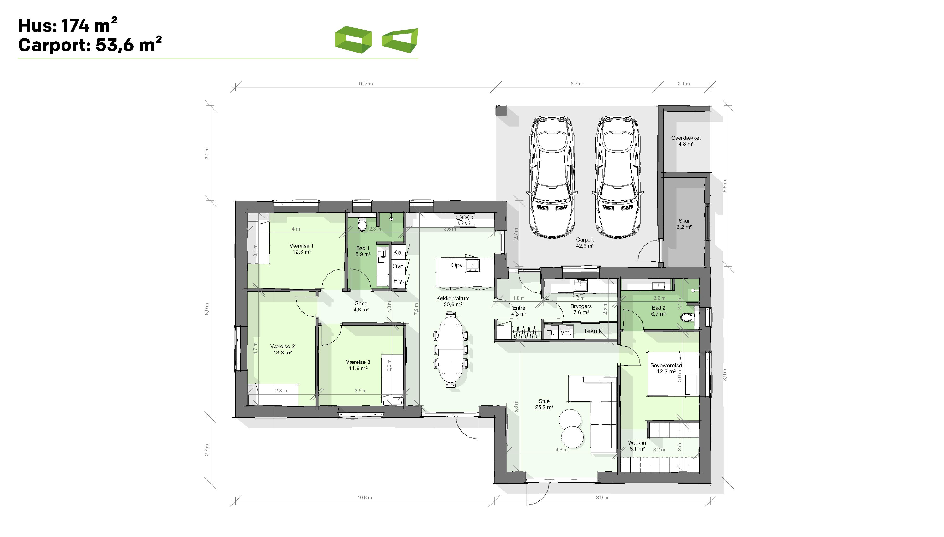 Plantegning designhus 174 m2