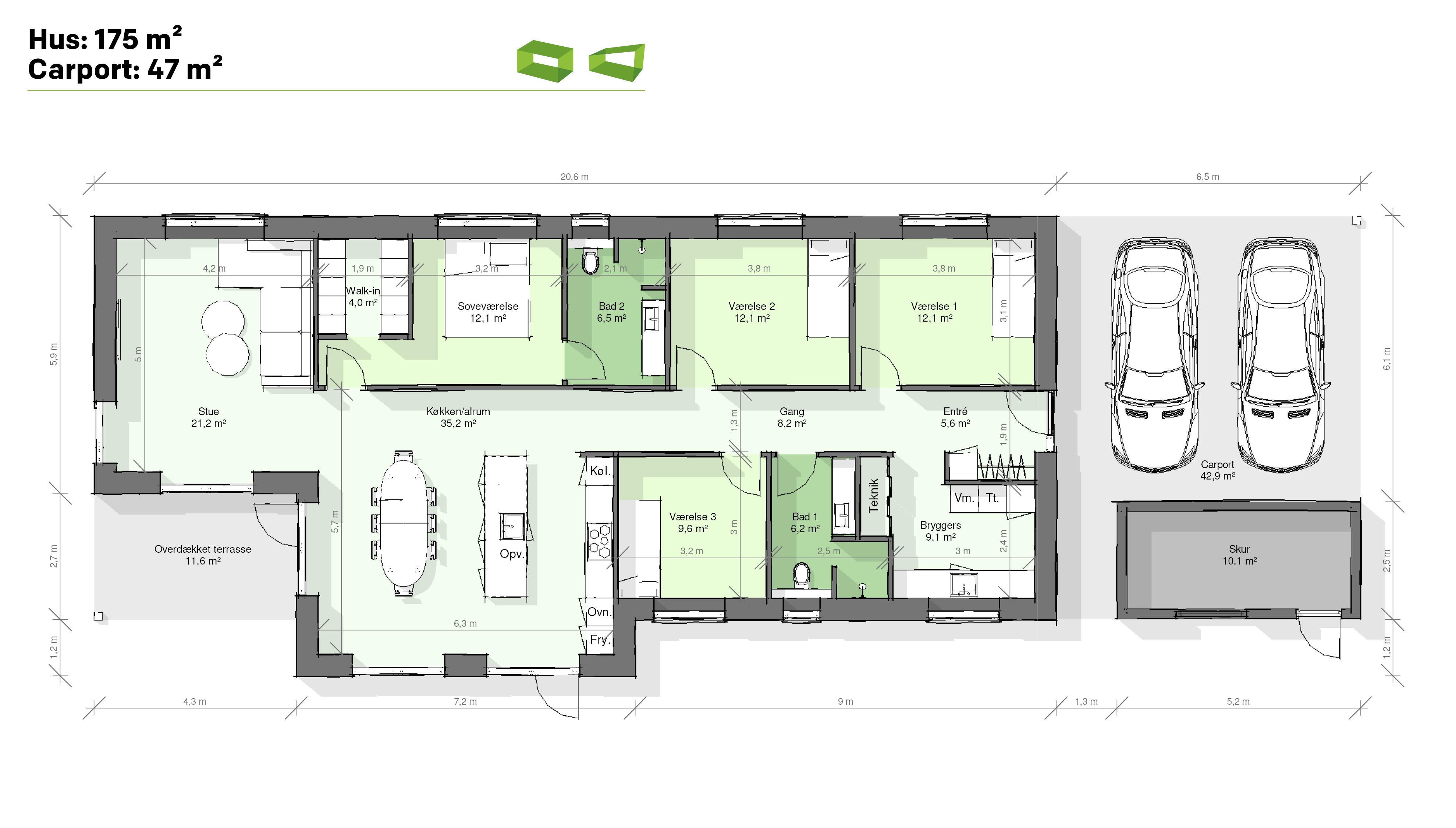 Plantegning designhus 175 m2