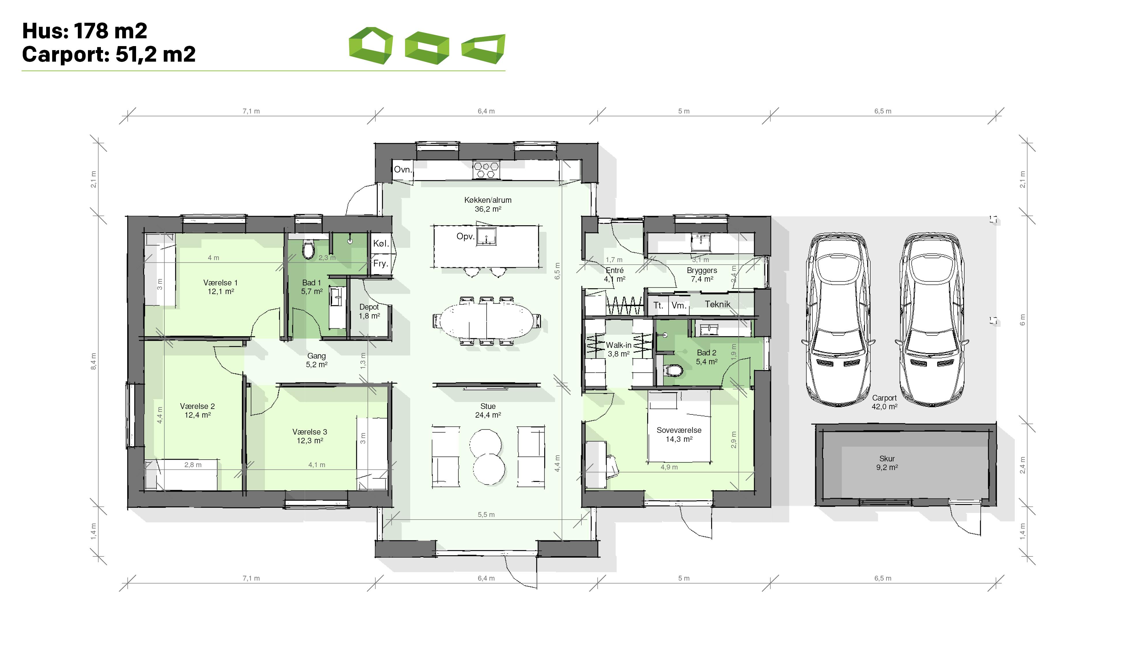 Plantegning designhus 178 m2