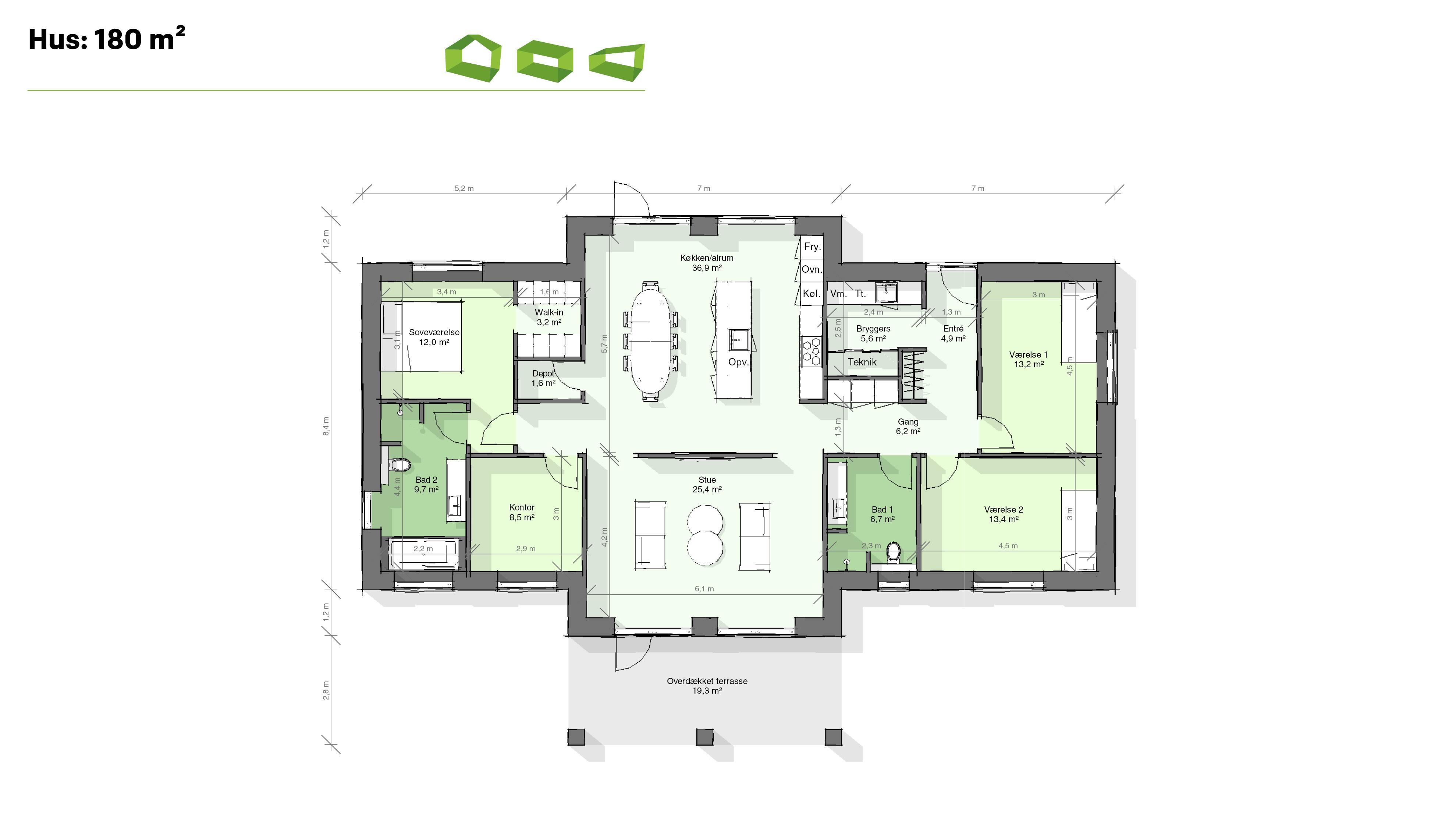 Plantegning designhus 180 m2
