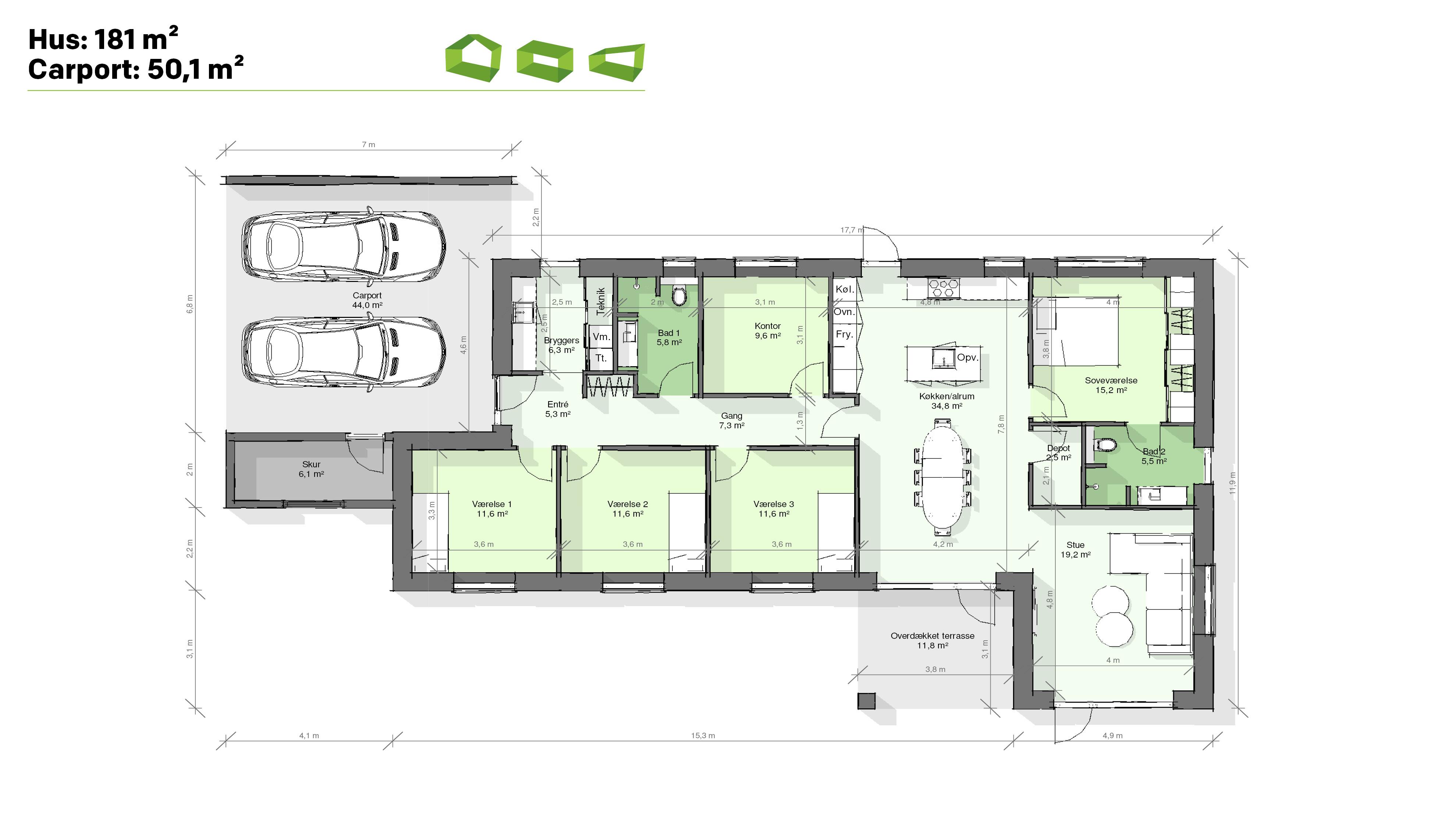 Plantegning designhus 181 m2