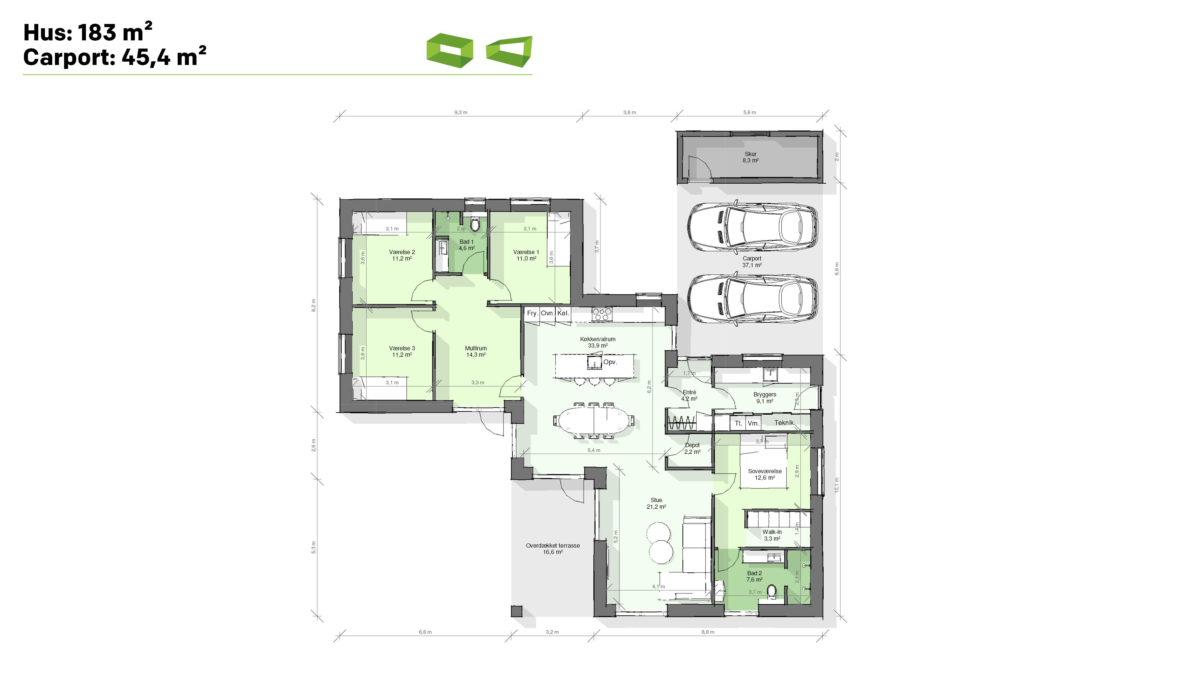 Plantegning designhus 183 m2